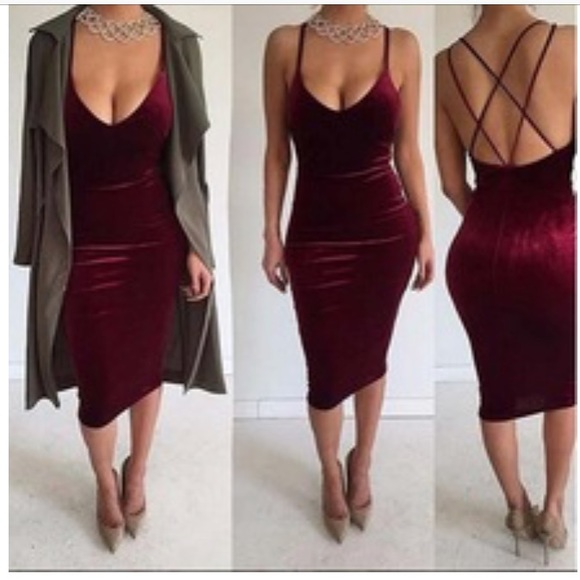 082c3f1444f2 Plush Burgundy Velvet Midi Bodycon Dress